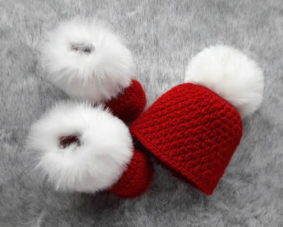 Pom Pom Hat and Booties